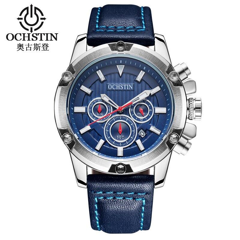 man wristwatch OCHSTIN brand calendar waterproof Chronograph Citizen movement luxury mens watch black blue brown genuine leather<br>
