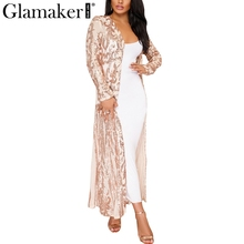Glamaker Sequin mesh long coat trench Women transparent flower coat outerwear Fashion spring summer party trench coat 2018 new(China)