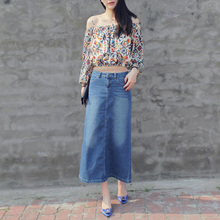 2016 spring  Autumn  fashion women long denim skirt casual plus size maxi skirts blue color vintage jeans skirts