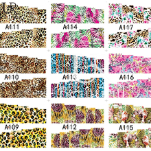 48Sheets Cartoon/Leopard/Flowers Design Nail Art Stickers Water Transfer Various Full Wraps Watermark Nail Decals BEA097-144(China)