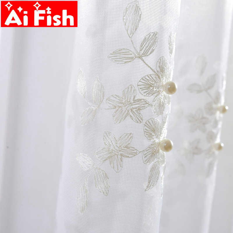European White Embroidery Pearl Lace Tulle Luxury Fancy Bedroom Curtain Valance Flower Curtains For Living Room Balcony WP226-40