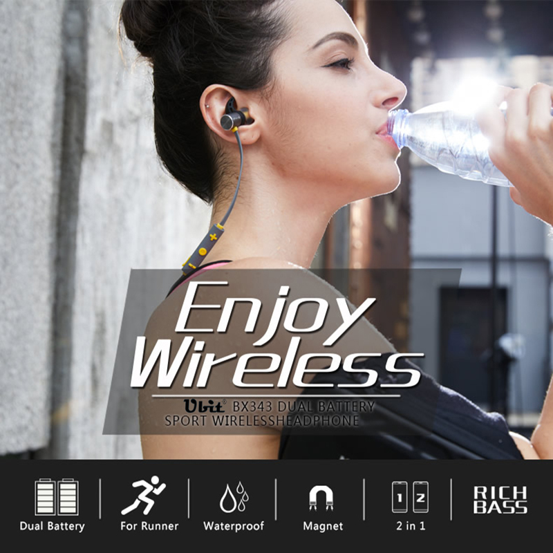 Ubit BX343 Bluetooth 4.1 Wireless Headphone IPX5 Waterproof Earbuds Magnetic Headset Earphones With Microphone For Phone Sport