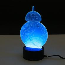 Abajur Lamp BB-8 3D Night Light Robot USB Led Table Desk Lamp Remote Contro As Home Decor Bedroom Reading Nightlight(China)