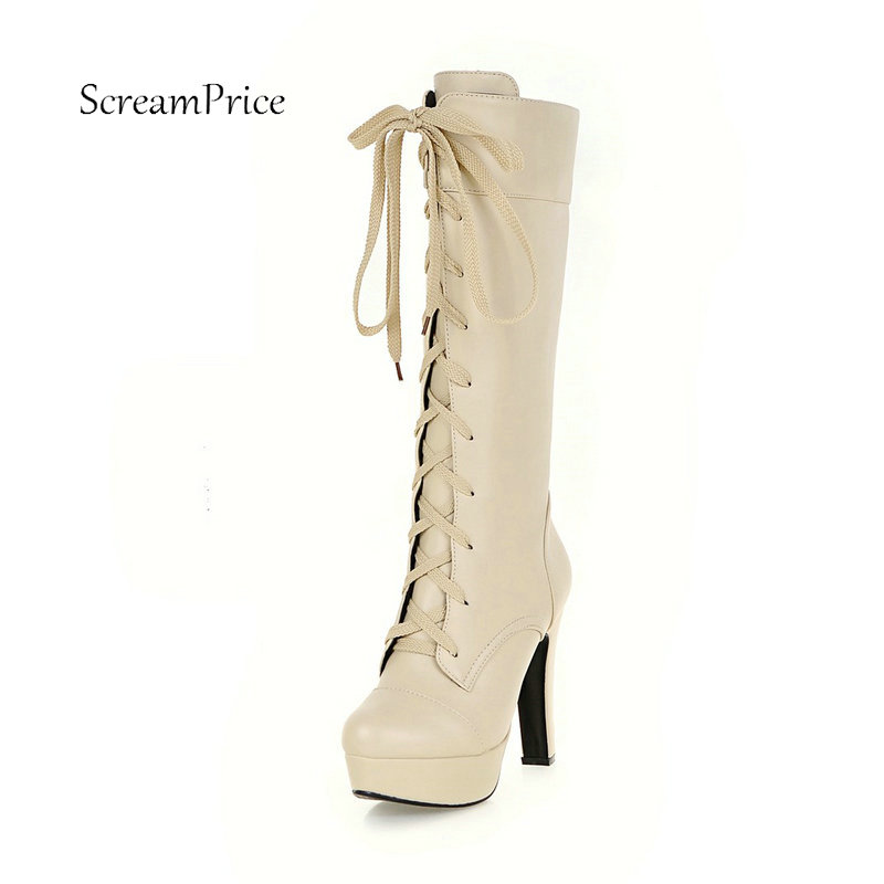 Women Lace Up Knee High Boots Fashion Platform Square High Heel Winter Warm Fighting Boots White Beige Black<br>