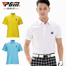 PGM Golf T Shirts Men Summer Short Sleeve Golf Sport Polo Shirts Turn Down Collar Breathable Quick Dry High Quality Golf Shirts