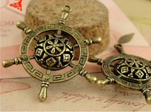 34*43MM Antique bronze Stereo hollow ship wheel retro nautical jewelry accessories manufacturers selling, ruder charms pendants(China)