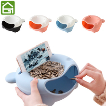 Cute Double Serving Dish Fruits Nuts Snack Tray Holder and Garbage Bowl with Cellphone Stand Rack for Cherry Candy Melon Seeds