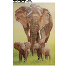 ZOOYA Diamond Mosaic 5D DIY Rhinestones Diamond Embroidery Pictures By Numbers Wall Stickers Elephant Mother And Child Gift R225(China)