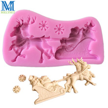Christmas Series Silicone Mold Santa Sleigh Soap Fondant Molds Gum Paste Cake Decorating Baking Tools(China)