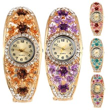 5 Colors Bangle Watches Gold Plated Crystal Flower Women Bracelet Dress Quartz Watch Casual Wristwatch