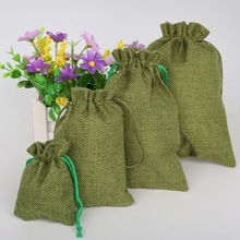 High Quality Green Christmas/Wedding Gift Pouch Decorative bags Linen Cotton Drawstring Bag Product Packaging Bags 5pcs(China)
