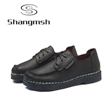Shangmsh Fashion Brand Shoes Flat Shoes Genuine Leather Retro Handmade Casual Shoes Women Soild Lace-up Loafers Flats Plus size(China)