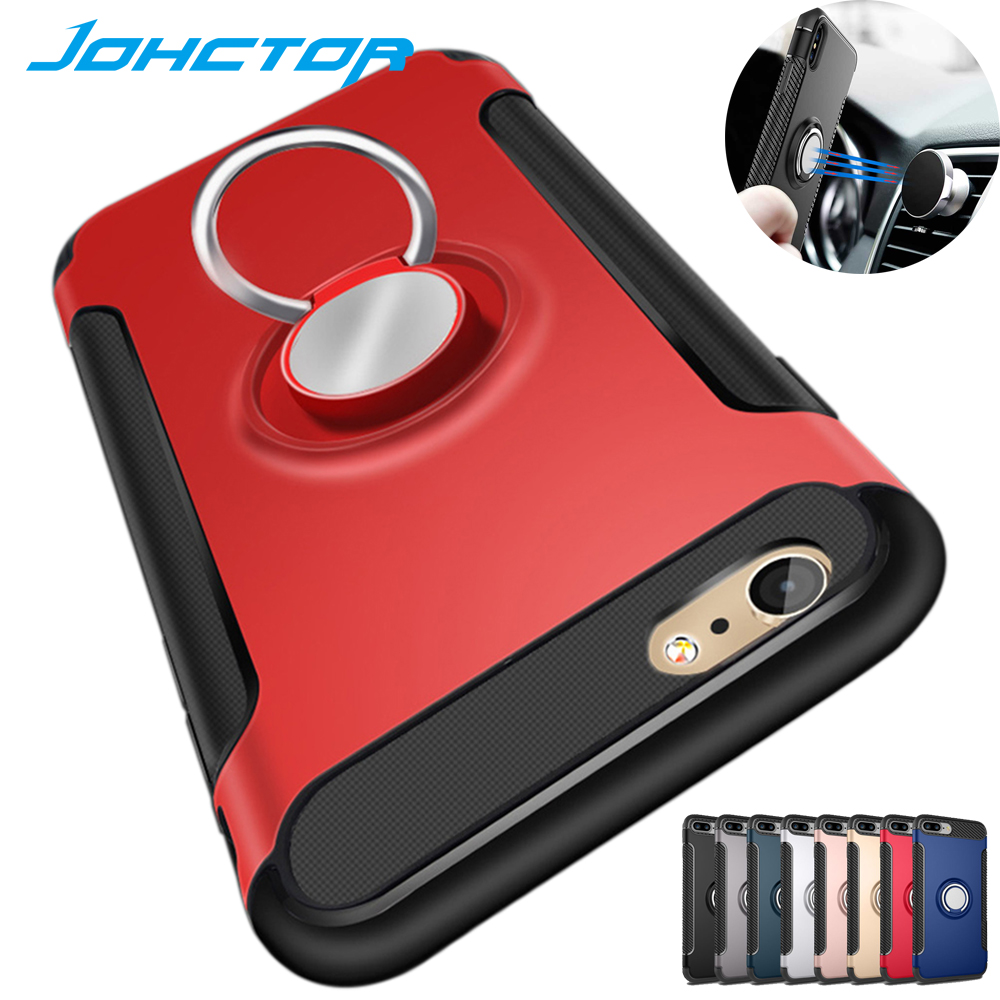 JOR Phone Cases for iPhone 6 6S 7 8 Plus Back Cover Magnetic Suction with Car Holder Metal Ring Hop Coque Case for iphone X Case(China)