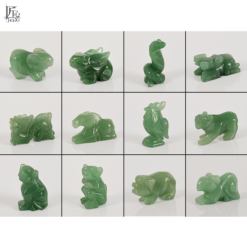 "2/"" Snake Statue Natural Gemstone Green Aventurine Crystal Carved Animal Figurine"