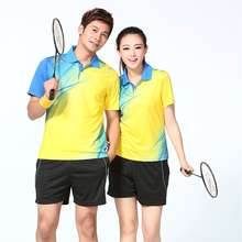 2016 new free shipping badminton clothes (shirt + shorts) male / female sports tennis shirt clothes summer speed dry fabric