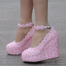Pink lace wedges pumps high heels shoes for women white lace platform wedges shoes wedges heels wedding shoes plus size