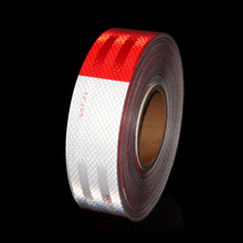 "12'X 2"" Red/White DOT C2 Trailer Reflector 4 by 4 Truck Car Adhesive Sticker for Bicycle Boxes Car SUV Vehicle Body Laser Film"