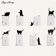 Switch Panel Stickers 1 PC Room Window Wall Decor Switch Vinyl Decal Sticker Decor Cartoon Mini Cat Switch Wallpaper D24