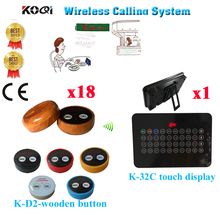 Wireless Restaurant Calling System Ycall Waiter Paging Service Table Bell Touch Display Receiver(1 display+18 call button)