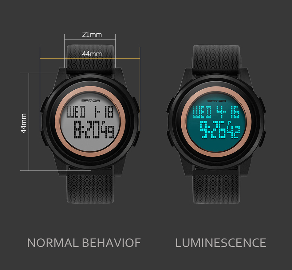 SANDA Fashion Women Sports Watches Waterproof 30m Ladies Ultra Thin LED Digital Watch Swimming Diving Hand Clock Montre Femme 17