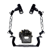 Underwater Waterproof Housing Diving Case for Panasonic GM1 LX100 Camera+ Dual Lighting Arm Bracket +Diving Led Video Torch