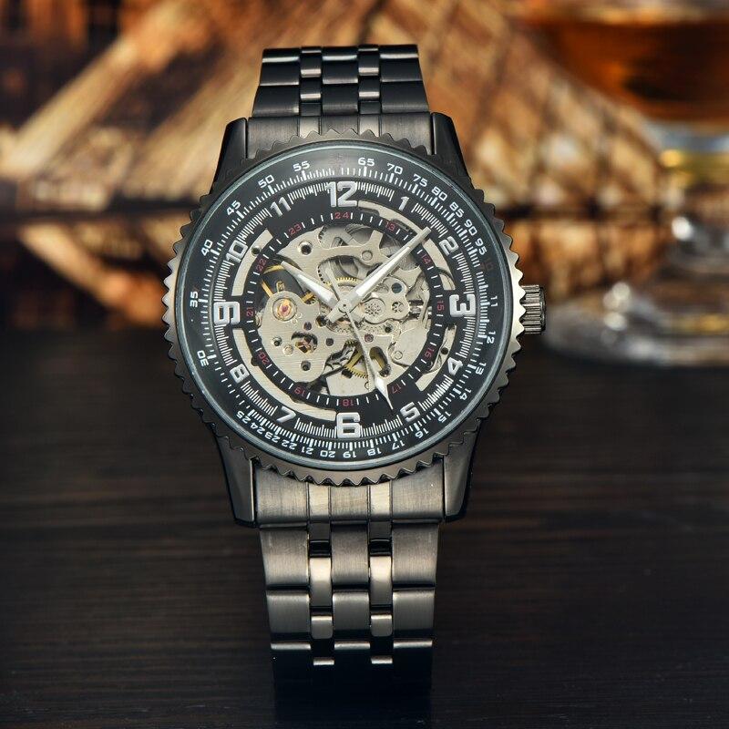 Black steel mechanical watch mens luxury watch mechanical automatic masculino designer watches luxury watch<br><br>Aliexpress