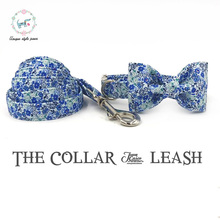 the spring flower dog  collar and leash set with bow tie  cotton  dog &cat necklace and dog leash  for pet supplies