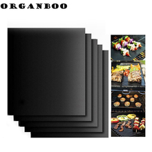 ORGANBOO 2pcs/Set Portable Easy Clean Nonstick BBQ Grill Mat Reusable Pad Sheet Hot Plate Bakeware Cooking Tool BBQ Accessories