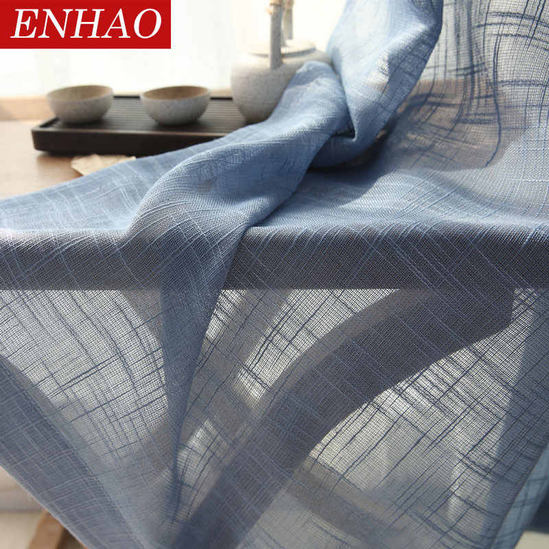 ENHAO Japan Tulle Curtains for Living Room The Bedroom Kitchen Tulle Curtains for Window Voile Curtains Sheer Windows Drape door