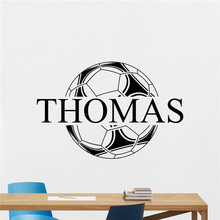 Custom Name Soccer Ball Wall Decal Personalized Football Wall Sticker Sport Cool Wall Art Kids Teen Girl Boy Room Wall Decor