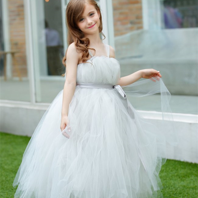 New arrival baby girl clothing Grey Flower Tutu Dress For Girls Tulle Cap Sleeves Flower Sash  Girls Wedding Party Dresses PT31<br><br>Aliexpress