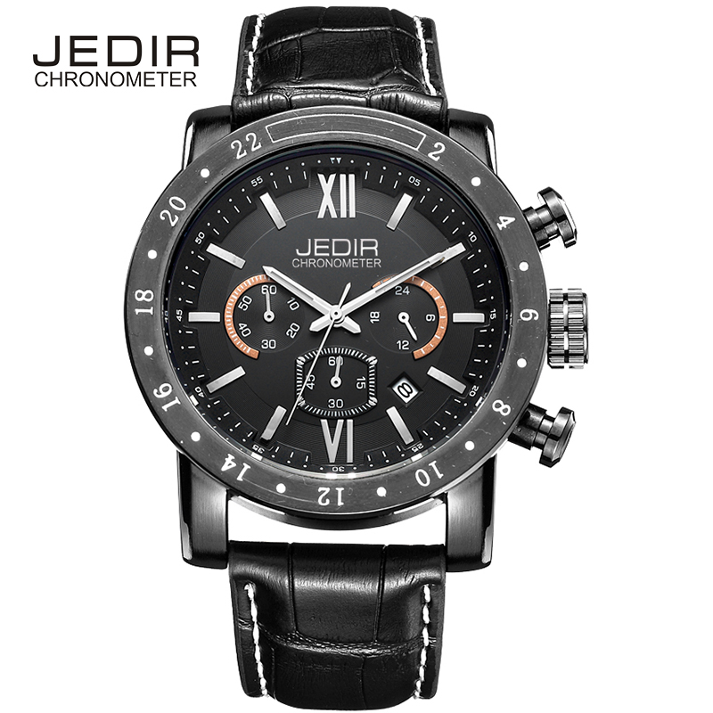 JEDIR Men Watch Rome Nail Scale, Multifunction Dial Calendar Display Leather Steel Strap Buckle Bracelet Clasp Mineral Hardlex<br>