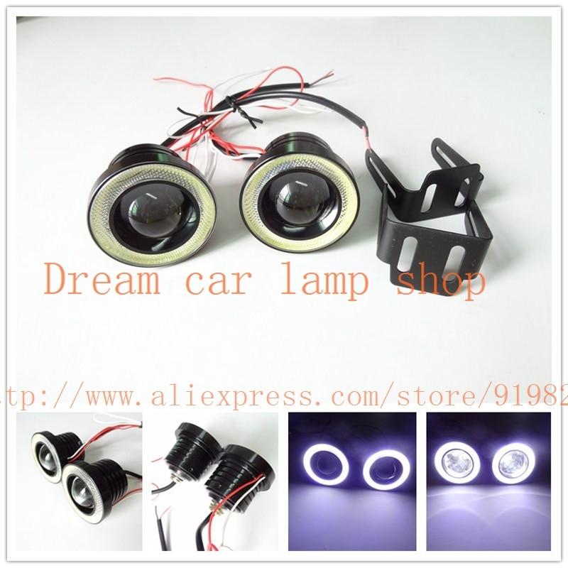 Universal 2.5 inch 64mm 10W Led COB Fog Lamp Car Auto Fog Angel eyes light with Lens DC12V FREESHIPPING GGG any car can use<br>
