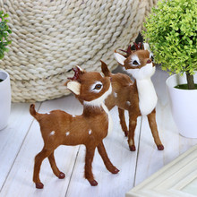 Small simulation animal deer,sika deer artificial baby deer toy,decoration for garden home cute small doll figure gift for child(China)