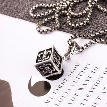 Women & Man Fashion Jewelry Cube Cross Retro Necklaces Pendant Carved Figure Silver Plated Accessories