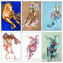 Gorgeous Equine 5d Diy Diamond Painting Full Square Horse Picture Of Rhinestones Needlework Kits Home Decor Diamond Embroidery(China)