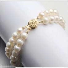 Attractive 2 row AAA south sea white pearl bracelet 7.5-8inch 14KGP@^Noble style Natural Fine jewe SHIPPING 5.25