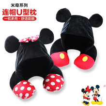 Disney Mickey Minnie Mouse Cartoon Hooded U-shaped Neck Pillow Office Lunch Break Portable Pillow Men and WomenBirthday Gifts(China)