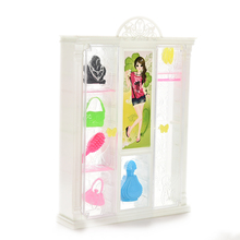 TOYZHIJIA Bedroom Furniture Closet Wardrobe + 6 Exhibits For Plastic Cute Doll Furniture for Barbie(China)