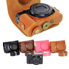 Hot PU Leather Camera Bag Case Cover For Canon G7X Mark II G7XII With Strap 4 Colors Black/Light Brown/Dark Brown/Pink