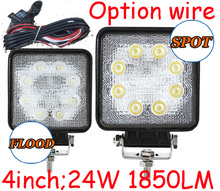 "Only 16USD/PCS,4"" 24W 1850LM 10~30V,6500K,LED working light;Free ship!Optional wire;motorcycle light,forklift,tractor light"