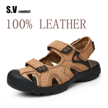 Men Leather Sandals Man Shoes Breathable Slipper Sandalias Hombre Flip Flops Sandalet Mens SV Comfort - Flagship Store store