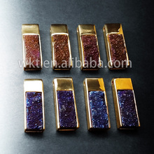 New! 24k IPG plated Titanium quartz pendants jewelry , blue and red electroplated quartz pendants in free shipping(China)