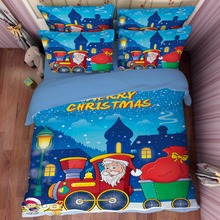 Free shipping novelty Christmas gift Santa Claus train pattern bedding Quilt duvet Cover pillow case for twin full queen king