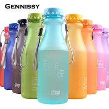 GENNISSY 550ML Candy Color Portable Plastic Water Bottle Tour Sport Lemon Juice Cup Drinkware High Quality BPA Free