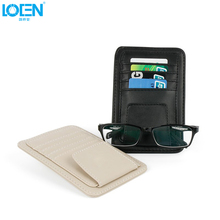 Multifunction PU Car Sun Visor Card Package Holder Glasses Storage Pen Organizer Hanging Bag Auto Sunshade Accessories Pocket(China)