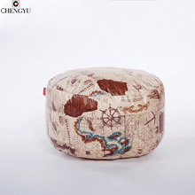 New Style Printing Living Room Furniture Footstool For Living Room Fashion  PU Round Bean Bag Chair Floor Footstool 45*25cm
