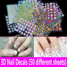 3D Nail Decals Nail Art Stickers 50 Different Sheets Kids Girls Fingernail Decoration Flower Pattern Set Mixed Manicure Pedicure