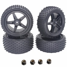 4 Pieces Front & Rear Buggy Tyres Wheels 12mm Hex For 1/10 RC Car Fit HSP STORMER 94105 Redcat Shockwave Nitro Buggy(China)