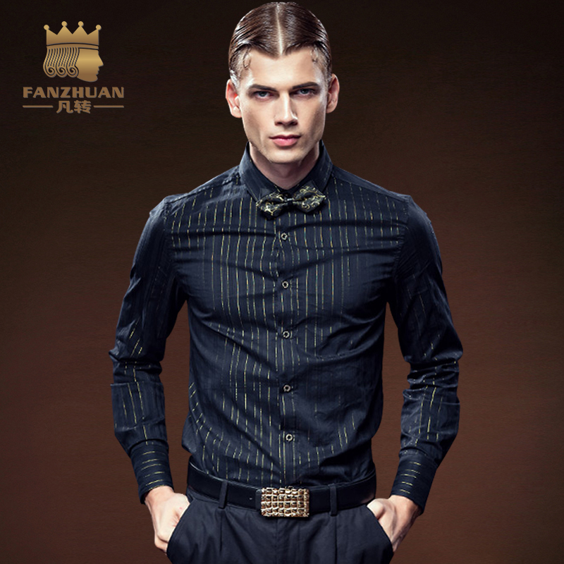 FANZHUAN Featured Brands Mens Business Casual Long Sleeved Shirt Fashion Bronzing Striped Male Social Dress Shirts Free Shipping